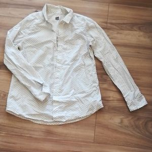 White button down with small black design